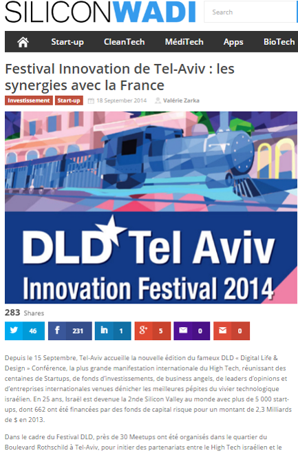 Silicon Wadi – Festival Innovation de Tel-Aviv : les synergies avec la France Investissement Start-up