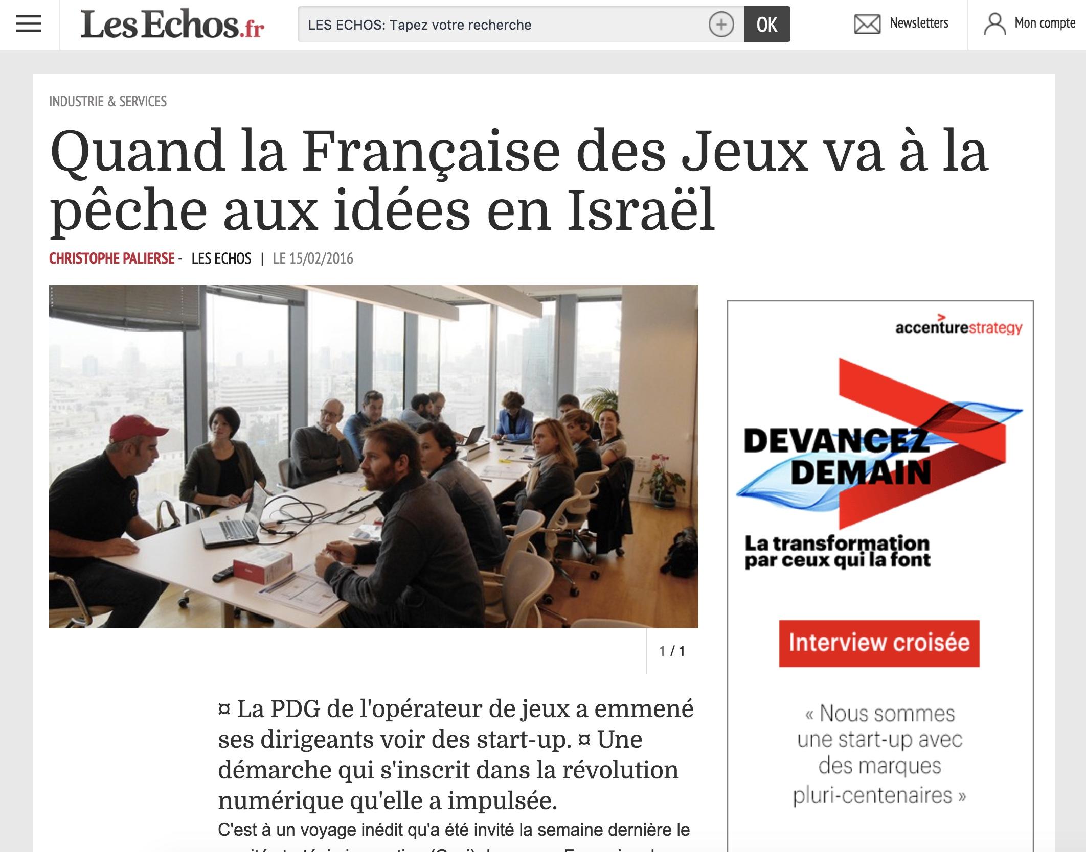 Les Echos – Quand la Française des Jeux va à la pêche aux idées en Israël